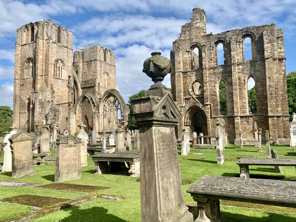 The side walls of Elgin Cathedral still standing