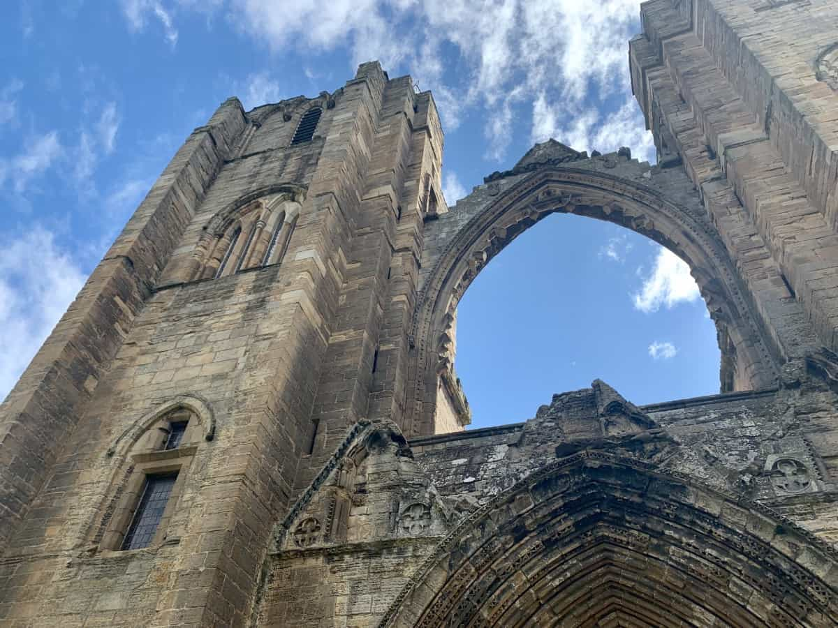 Looking up at the ruins of Elgin Cathedral