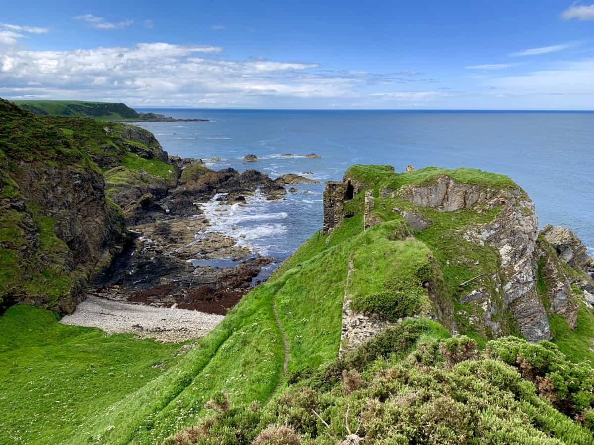 The ruins of Findlater Castle along the North East 250 route in Aberdeenshire, Scotland