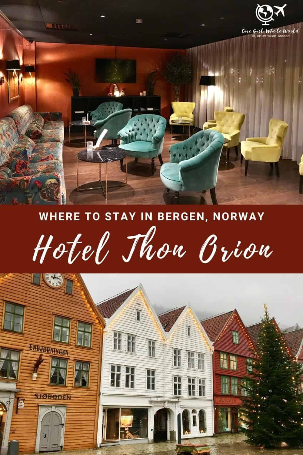 Where to Stay in Bergen, Norway: Hotel Thon Orion | A review of the Hotel Thon Orion Hotel in Bergen, Norway...a cozy and charming hotel in Bryggen old town, a perfect place to stay while visiting Bergen. Safe, clean, great service, and very affordable, with views of the waterfront. Tips for visiting Bergen, Bergen trip planning tips, Norway travel tips | One Girl, Whole World