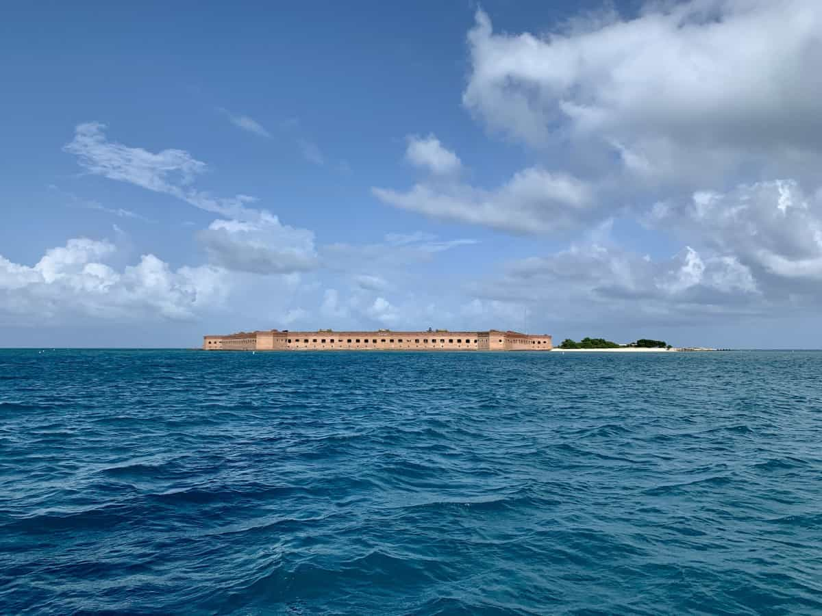First glimpse of Fort Jefferson from our sailboat