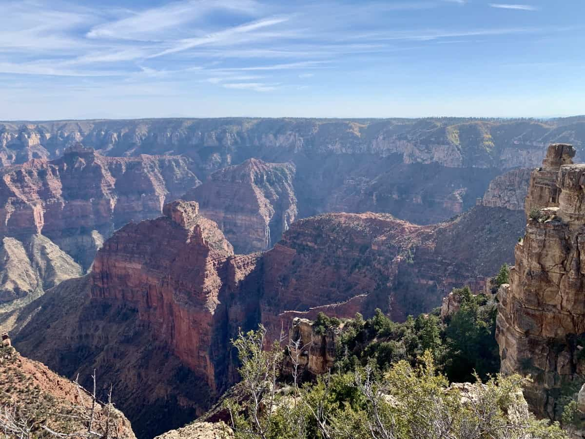A North Rim Grand Canyon Day Trip | How to visit from St. George Utah to the North Rim, tips for planning your trip. The North Rim is more remote and less touristy, but has maybe the best Grand Canyon views of all. What to see, best viewpoints, where to eat, and more. #grandcanyon #northrim #stgeorge #nps