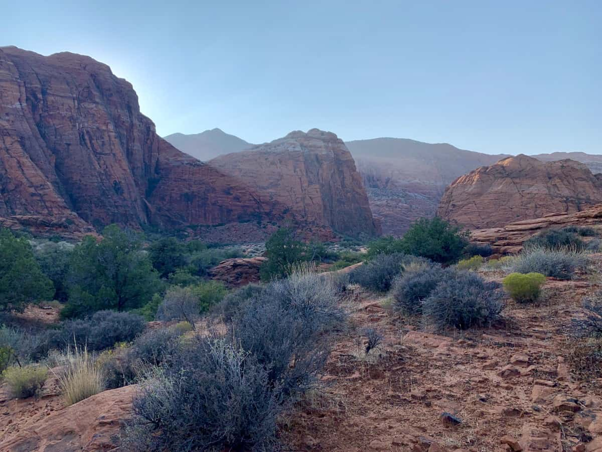 The beautiful lighting on the Snow Canyon hikes