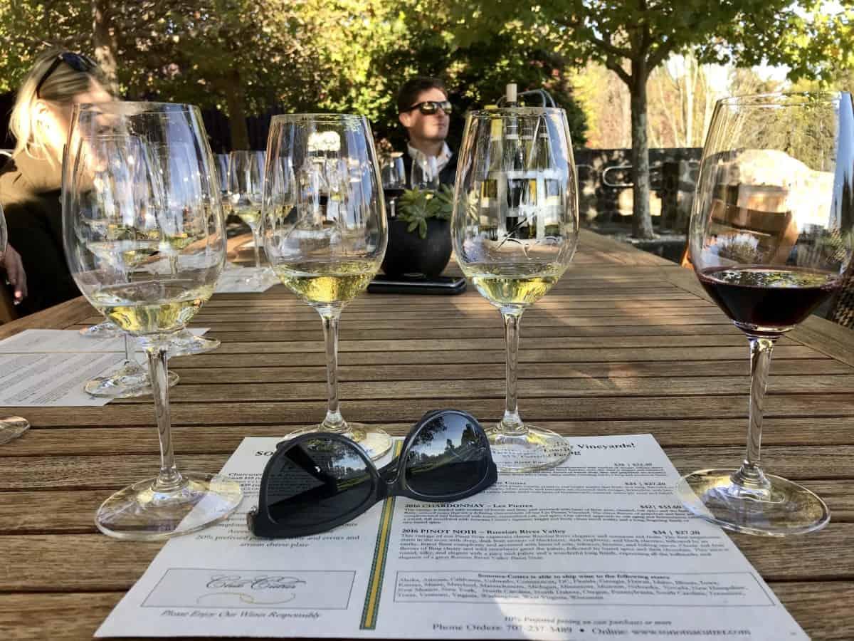 A wine flight tasting at Sonoma-Cutrer