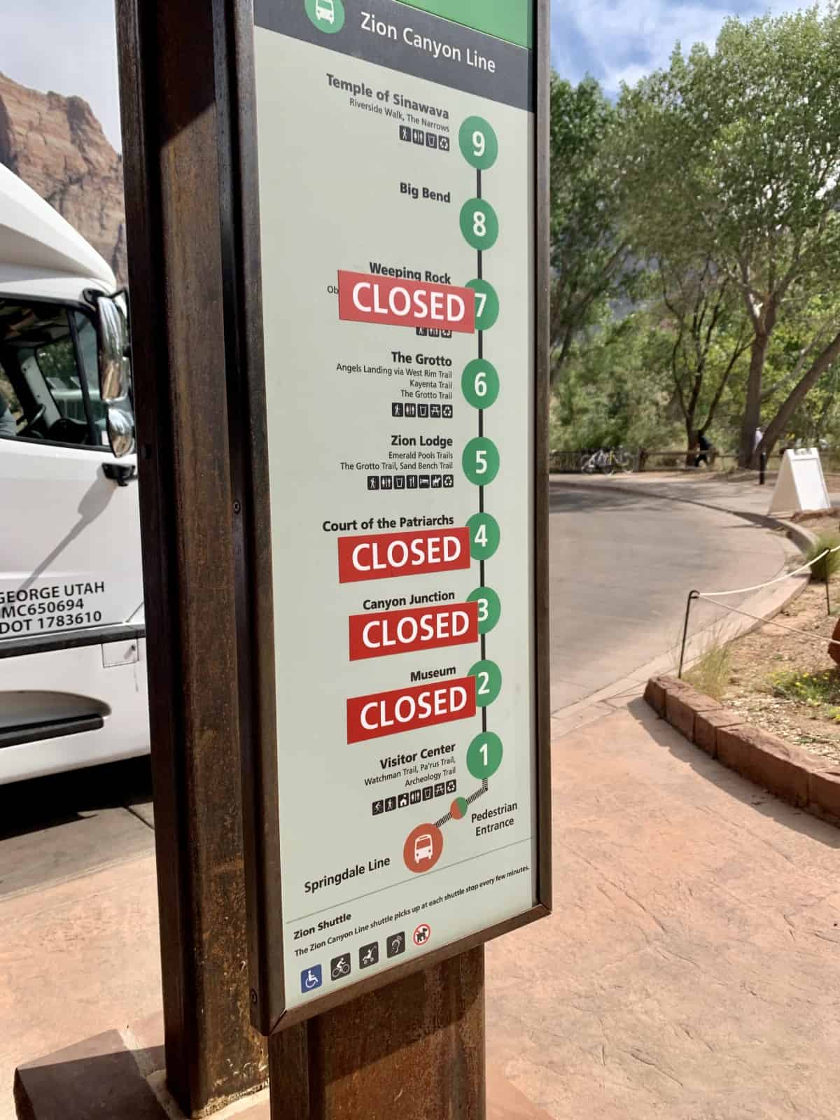 Changes to the Zion shuttle system during COVID