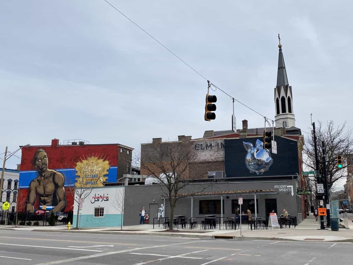 You can see a ton of murals in Cincinnati walking down Liberty between Findlay Market & Vine Street