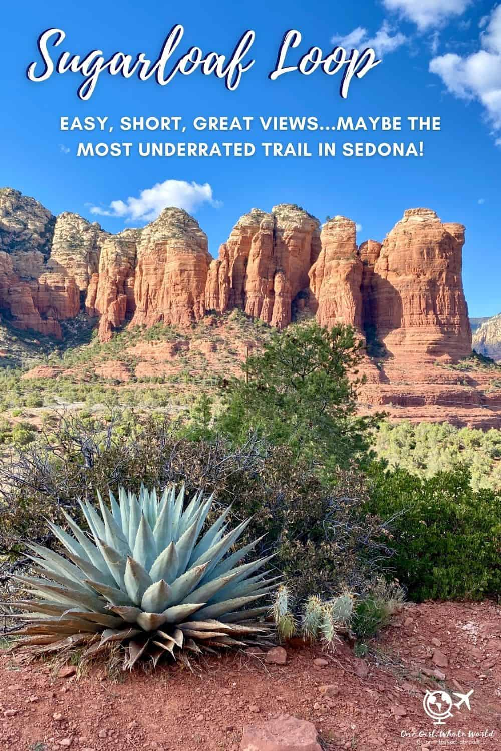Sugarloaf Loop Trail...Maybe Sedona's Most Underrated Hike | If you're looking for a short, easy hike in Sedona with amazing views that's not too crowded, the Teacup Trail and Sugarloaf Loop and Summit are perfect for you! Sedona trail ideas, best Sedona hikes, easy Sedona hikes, Sedona sunrise hike. #sugarloafloop #sedona #arizonahikes #girlstrip