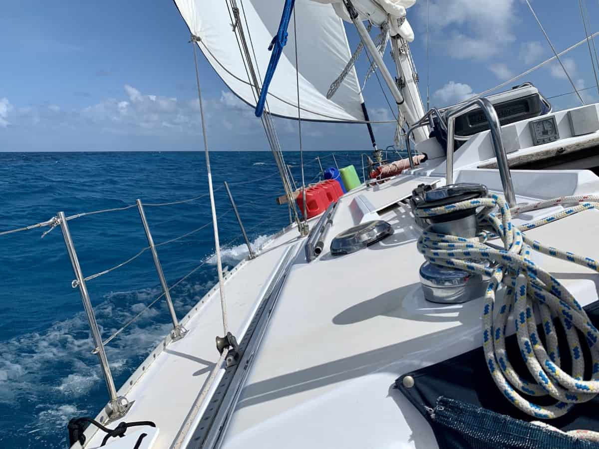 Anchored at a 45 degree angle due to the waves - what it was like sailing Key West to Dry Tortugas