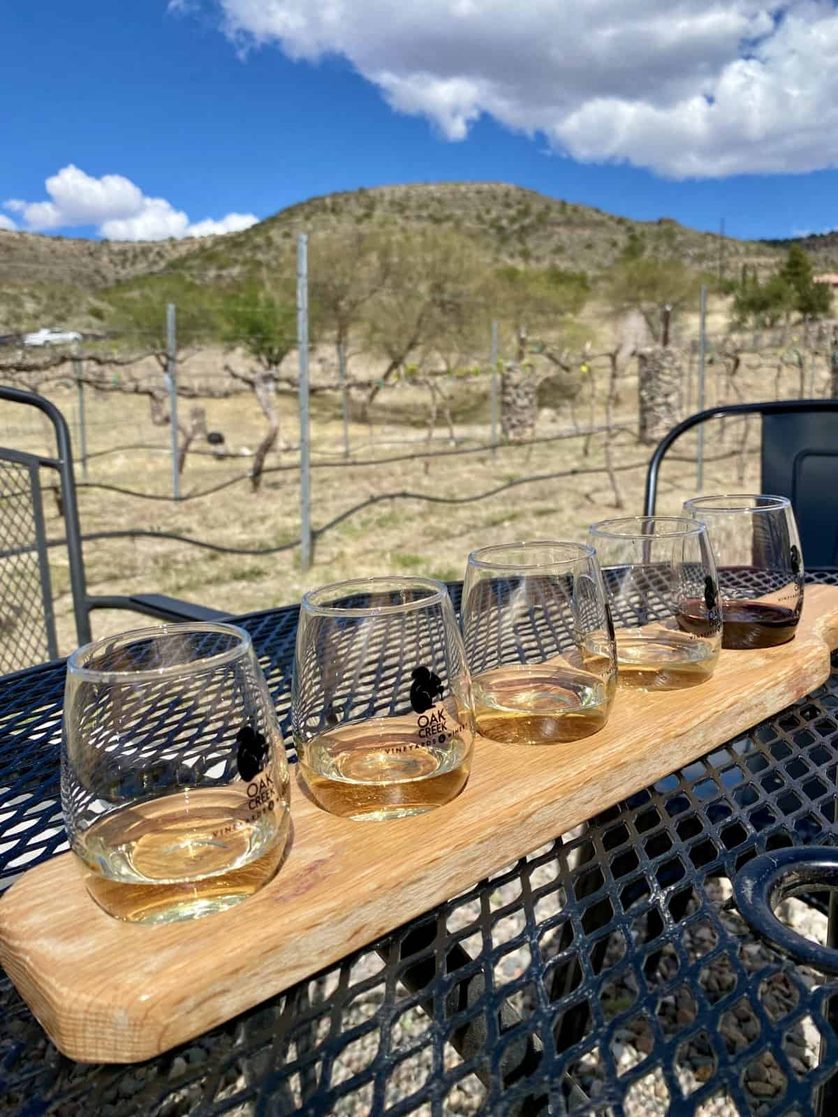The views and cheese plate at Oak Creek Vineyards are great! - Sedona wineries to visit