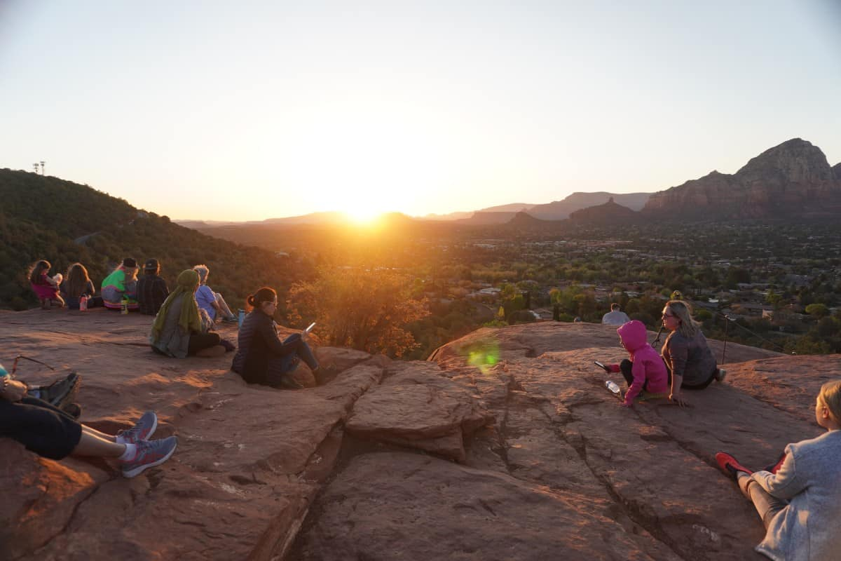 Hiking Sedona's Airport Mesa at Sunset | This is one of the best sunset hikes in Sedona (Arizona USA), and a super easy one. Gorgeous photos that will convince you to take this hike, parking information, & more. Hike the Airport Vortex summit for the best Sedona sunset views. Arizona hiking ideas, best Sedona hikes. #sedona #arizona #sunset #hiking