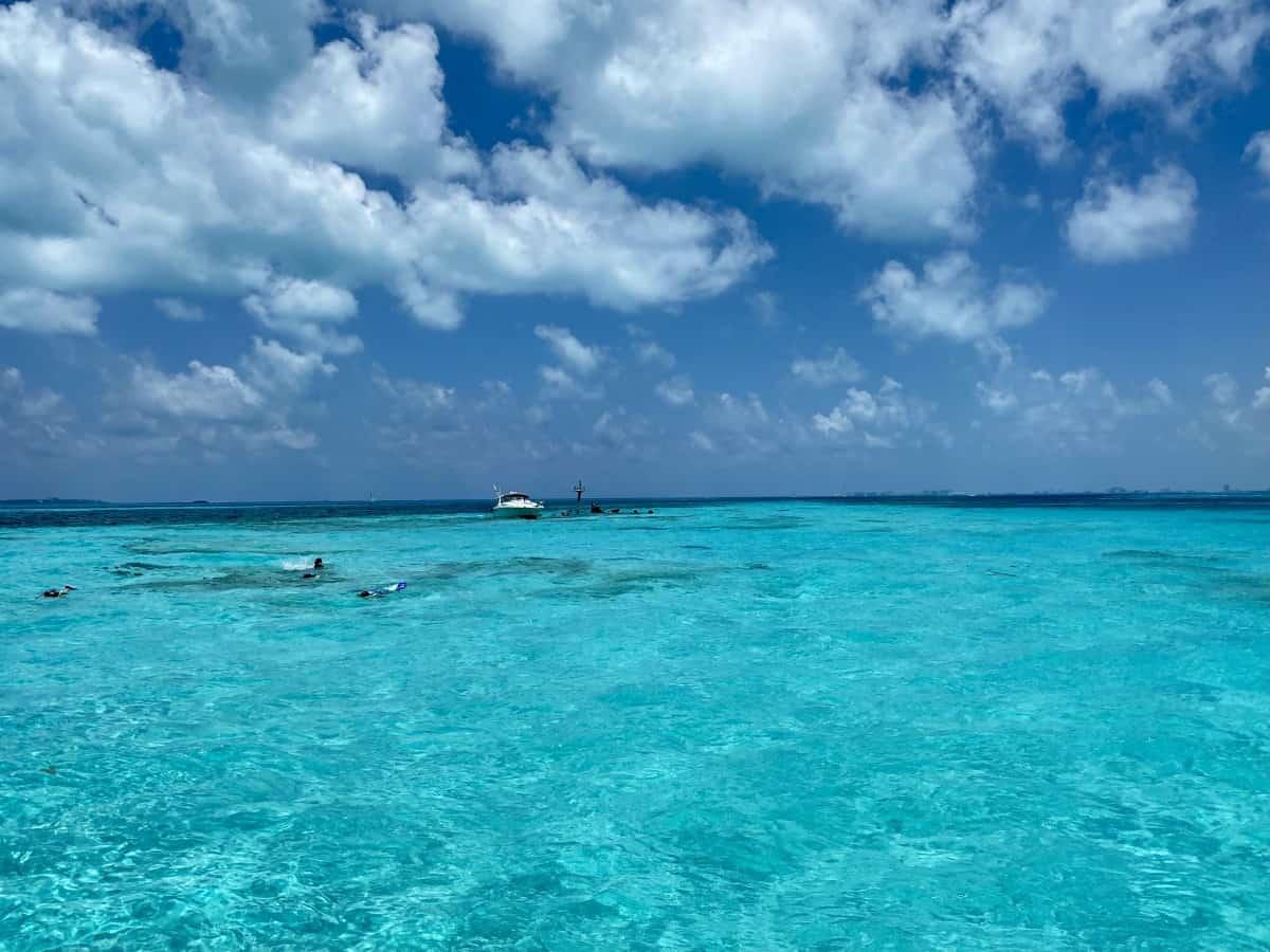 Snorkeling at a shipwreck off Isla Mujeres