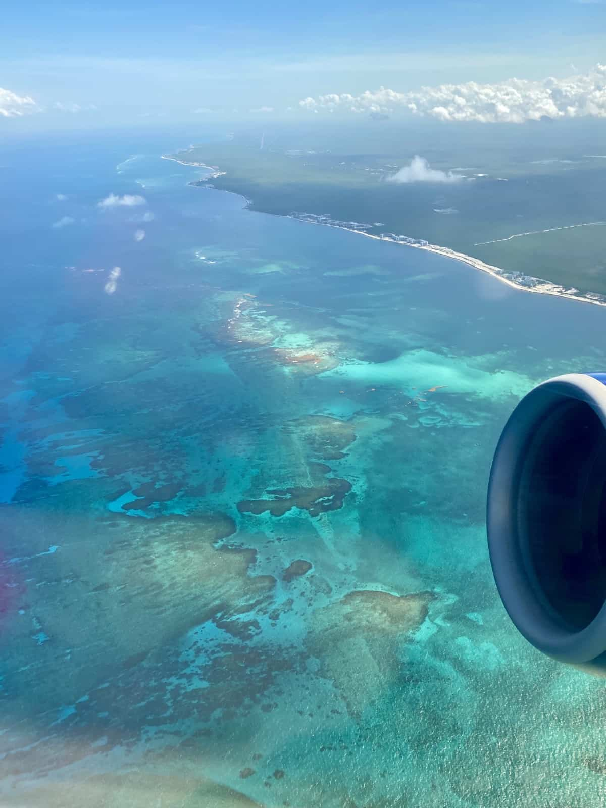 View from the plane while leaving Cancun