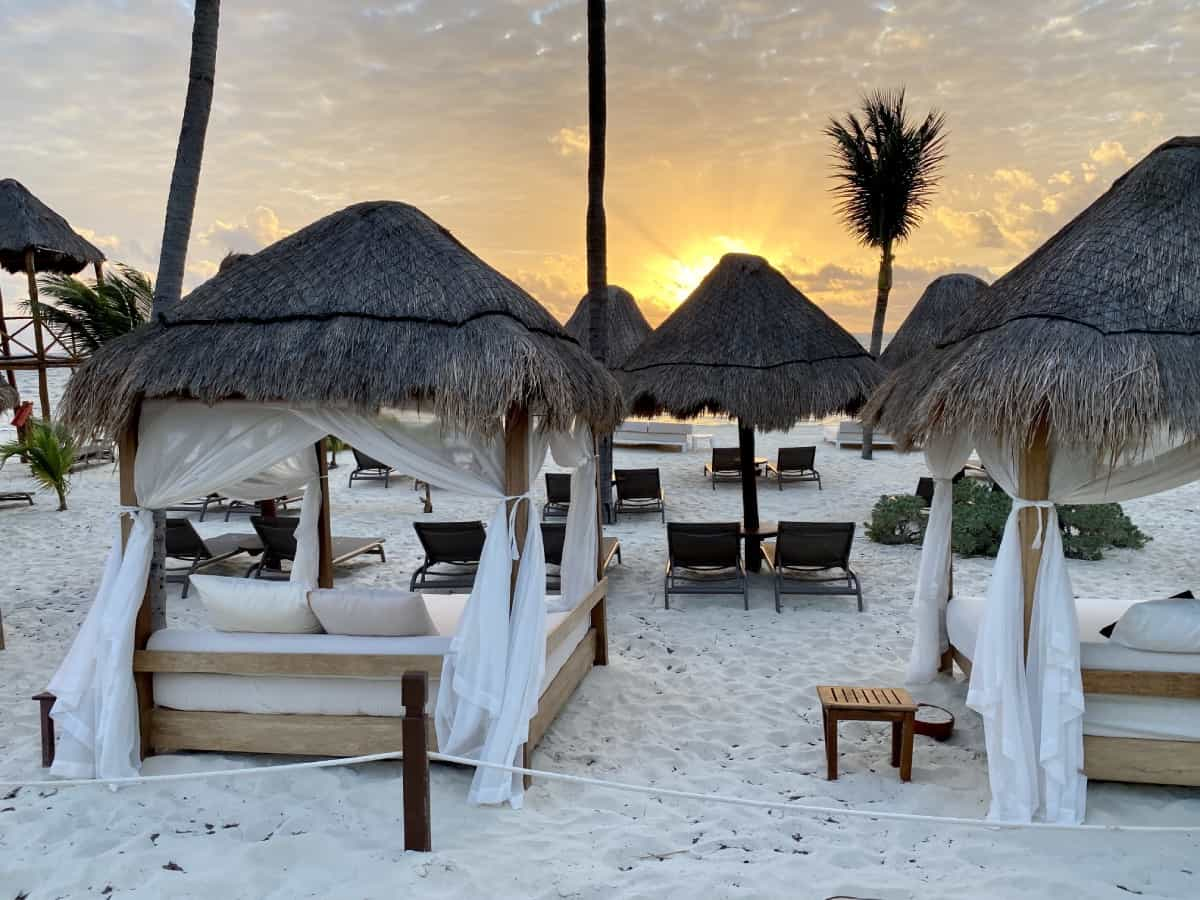 Bali beds on the beach for Excellence Club - a detailed Excellence Playa Mujeres review