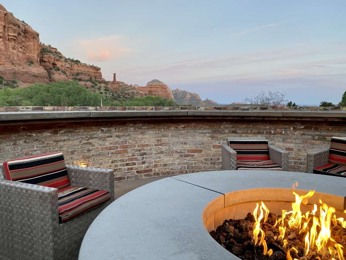 Sedona's Enchantment Resort review - The patio area and firepit were lovely in the evening