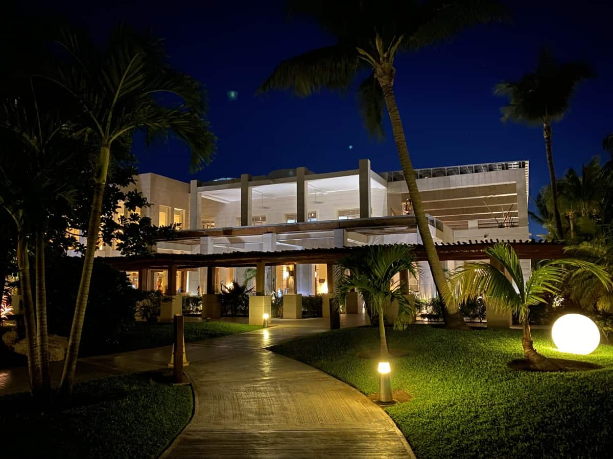 Detailed review of LeBlanc Cancun vs. Excellence Playa Mujeres - EPM's grounds at night were beautiful